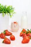 Fresh strawberry milkshake Stock Images