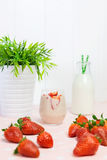 Fresh strawberry milkshake Royalty Free Stock Photography