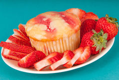 Fresh Strawberry Muffin Royalty Free Stock Photo