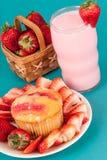 Fresh Strawberry Muffin with Strawberry milk Stock Photo