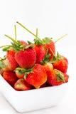 Fresh strawberry Pharachatan 80, wooden dish Royalty Free Stock Photos