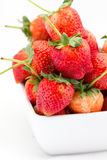 Fresh strawberry Pharachatan 80, wooden dish Royalty Free Stock Image