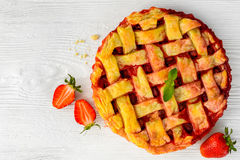 Fresh strawberry pie or tart with berries on white Royalty Free Stock Photography