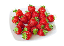 Fresh strawberry plate Royalty Free Stock Images