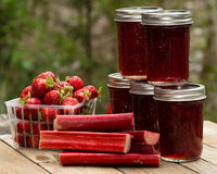 Fresh strawberry rhubarb jelly Royalty Free Stock Photos