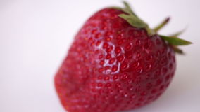 Fresh Strawberry In Rotation, Isolated, White Background. Appetizing Strawberry In Rotation, Isolated, White Background stock footage