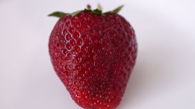 Fresh Strawberry In Rotation, Isolated, White Background stock video footage