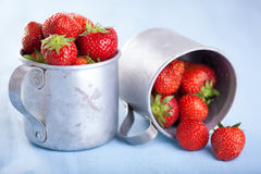 Fresh strawberry in rustic cups Stock Photography