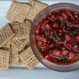 Fresh strawberry salsa. With crackers royalty free stock photos