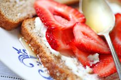 Fresh strawberry sandwich Royalty Free Stock Photos