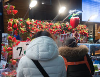 Fresh Strawberry shop around Myeong market in Seoul, South Korea Stock Photos