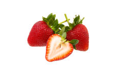 Fresh strawberry slice isolated on white background Stock Photography
