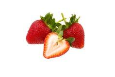 Fresh strawberry slice isolated on white background. Fresh strawberry isolated on white background stock photography