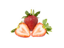 Fresh strawberry slice isolated on white background. Fresh strawberry isolated on white background royalty free stock photography