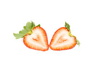 Fresh strawberry slice isolated on white background. Fresh strawberry isolated on white background royalty free stock images