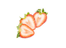 Fresh strawberry slice isolated on white background Stock Images