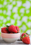 Fresh strawberry in small bowl Stock Image