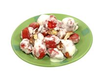 Fresh strawberry in sour cream. Stock Photography