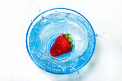 Fresh Strawberry Splash. A fresh strawberry splashing into a bowl of beautiful blue water set against a white background Stock Photography