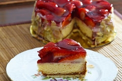 Fresh strawberry sponge cake Stock Image