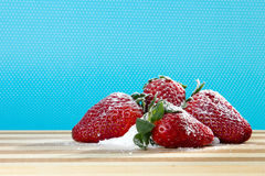Fresh strawberry with sugar powder Royalty Free Stock Images