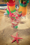 Fresh strawberry tropical cocktail with shaker Royalty Free Stock Images