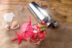 Fresh strawberry tropical cocktail with shaker Royalty Free Stock Photography