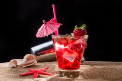 Fresh strawberry tropical cocktail with shaker Stock Image