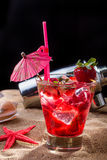 Fresh strawberry tropical cocktail with shaker Royalty Free Stock Photo