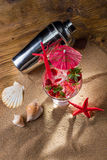 Fresh strawberry tropical cocktail with shaker Stock Photo