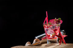 Fresh strawberry tropical cocktail with shaker Stock Photography