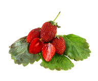 Fresh strawberry and two halves. On white Stock Image