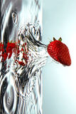 Fresh Strawberry in water Royalty Free Stock Images
