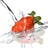 Fresh strawberry and water splash Stock Image