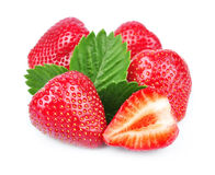 Fresh strawberry whit leaf Royalty Free Stock Image