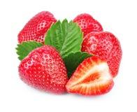 Fresh strawberry whit leaf royalty free stock image