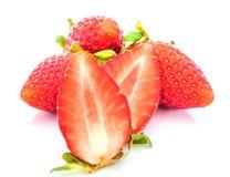 Fresh  strawberry  on a  white background Stock Photos