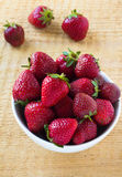 Fresh strawberry in the white bowl Royalty Free Stock Image