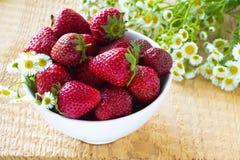 Fresh strawberry in the white bowl Royalty Free Stock Photo