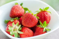 Fresh strawberry in white plate. Stock Images