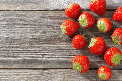 Fresh strawberry on a wooden background, top view Royalty Free Stock Image