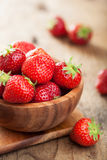 Fresh strawberry in wooden bowl. Fresh strawberry in a wooden bowl Stock Photo
