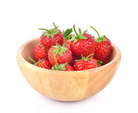 Fresh strawberry in a wooden bowl isolated on white background. Fresh strawberry in a wooden bowl isolated on white Royalty Free Stock Photography