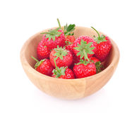 Fresh strawberry in a wooden bowl isolated on white background. Fresh strawberry in a wooden bowl Royalty Free Stock Photo
