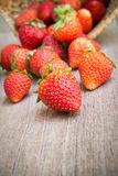 Fresh strawberry on wooden table. Stock Photo