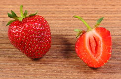 Fresh strawberry on wooden table Royalty Free Stock Photography