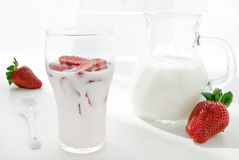 Fresh Strawberry yoghurt Royalty Free Stock Photos