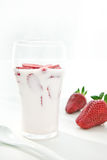 Fresh Strawberry yoghurt Stock Image