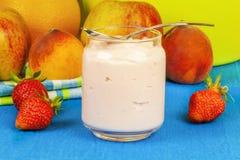 Fresh strawberry yogurt with fruit around Stock Photo