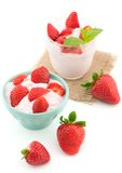 Fresh strawberry with yogurt in a glass isolated Stock Image